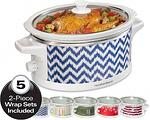 The Wrap & Serve™ Slow Cooker includes five unique wraps, and the control knob is on the side of the slow cooker so you can show off your favorite pattern. It is large enough to cook a 6 lb. chicken or 4 lb. roast, perfect for family dinners, parties or other large gatherings. Now you can have stylish and festive pattern options for this versatile appliance in your kitchen.