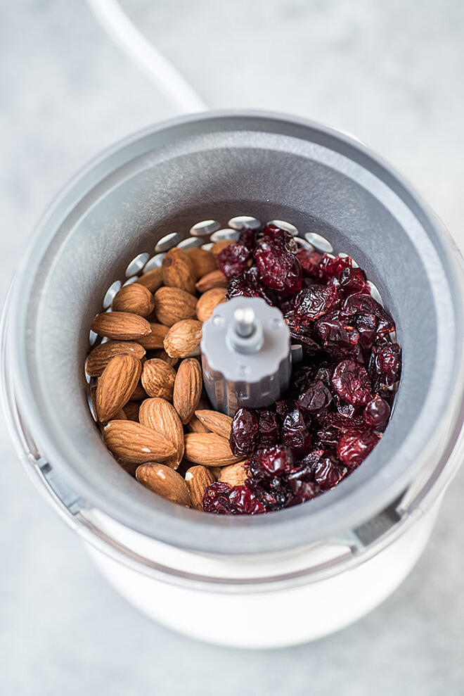 Cranberries and almonds in no over-processing food chopper