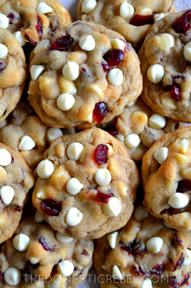 Soft & Chewy Cranberry White Chocolate Chip Cookies from the Domestic Rebel