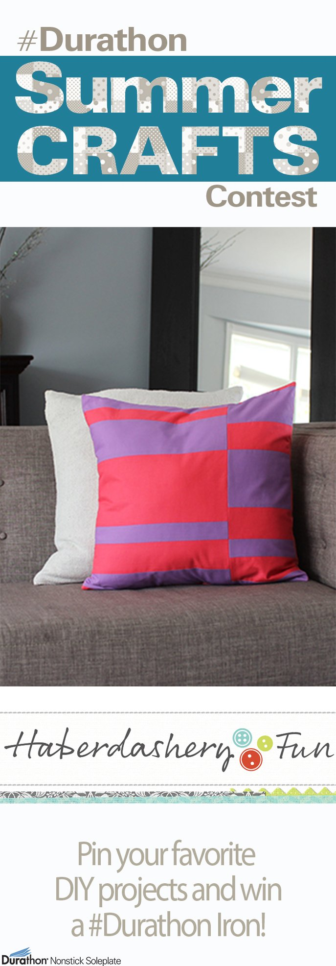 Center Stage: Easy Colorblock Envelope Pillow from Haberdashery Fun | #Durathon