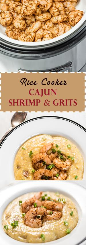 Rice Cooker Cajun Shrimp and Grits Pinterest Graphic