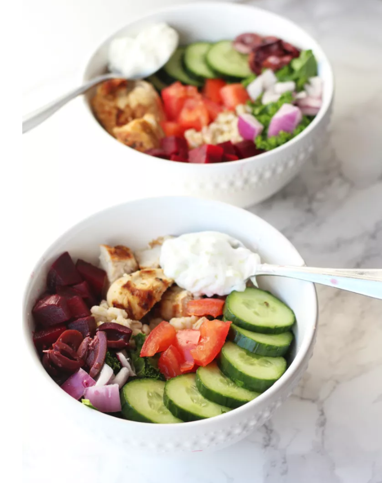 Grilled Greek Chicken Power Bowls