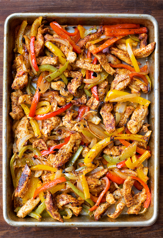 Sheet Pan Chicken Fajitas from Life Made Simple