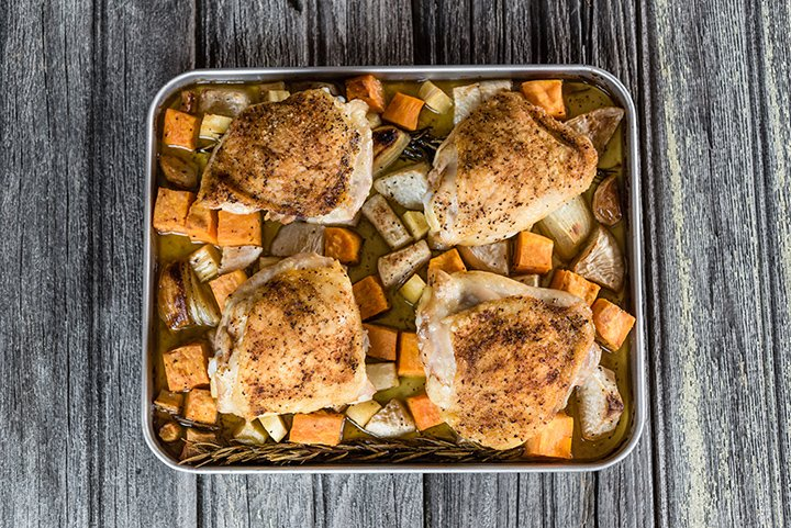 Sheet Pan Chicken Thighs with Roasted Rosemary Root Vegetables