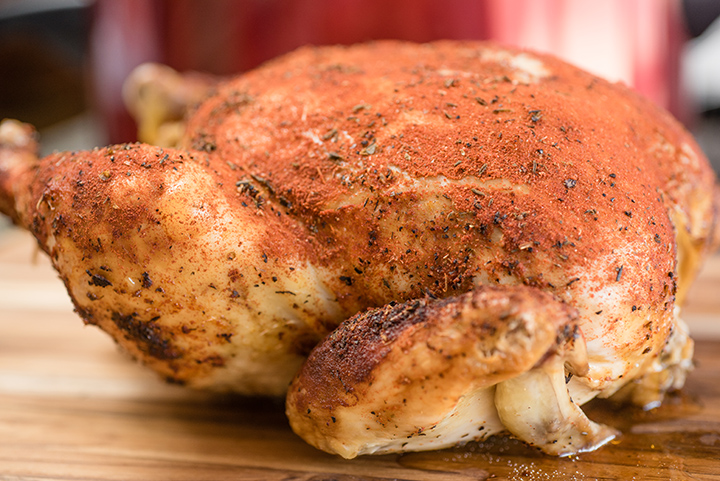 Slow Cooker Beer Can Rotisserie Style Chicken