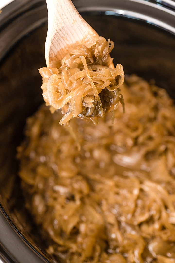 Slow Cooker Caramelized Onions and French Onion Soup