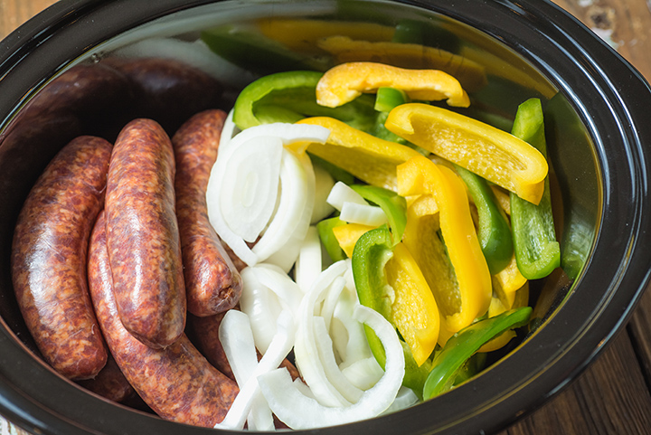 Slow Cooker Sausage with Peppers and Onions