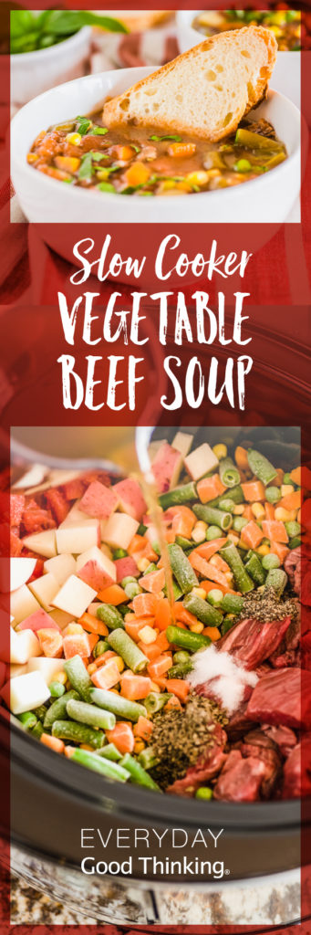Slow Cooker Vegetable Beef Soup Pinterest Graphic