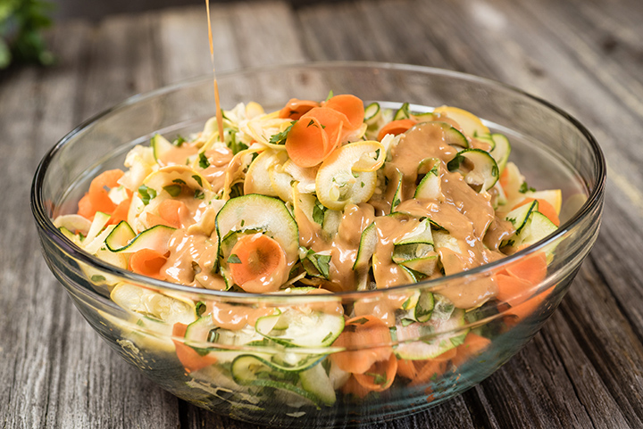 Spiralizer Ribbon Veggie Salad with Thai Peanut Sauce