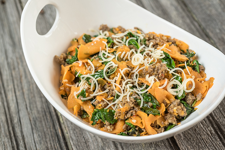 Spiralizer Sweet Potato and Sausage with Parmesan