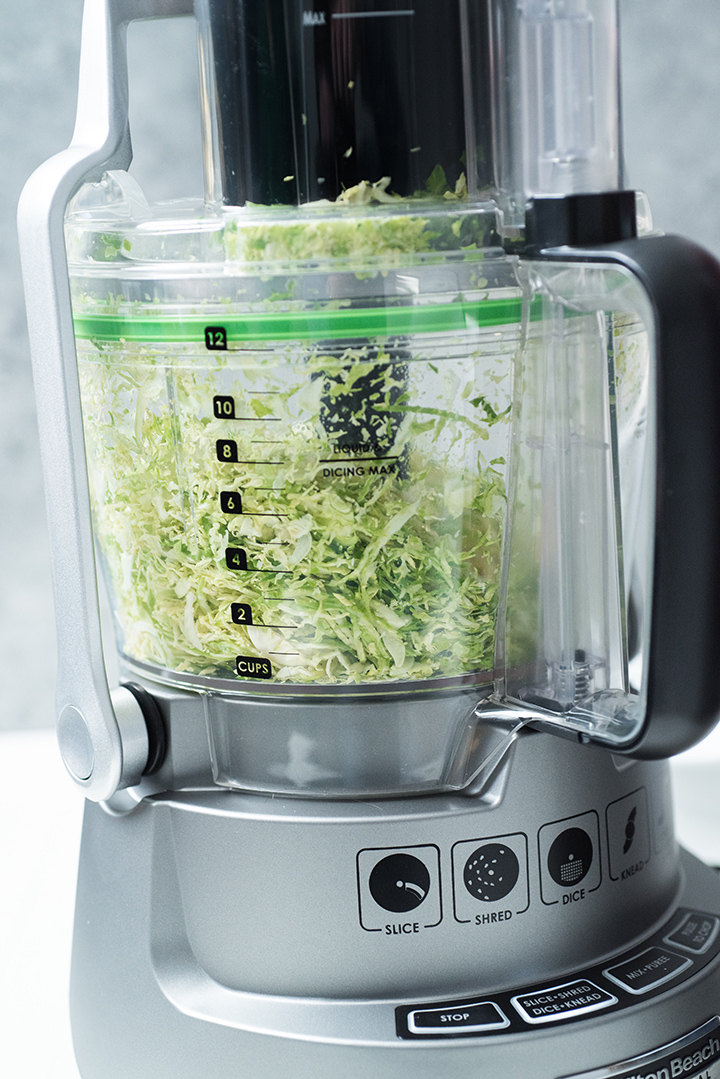 Shredded Brussels Sprouts in Hamilton Beach Professional 14 Cup Dicing Food Processor