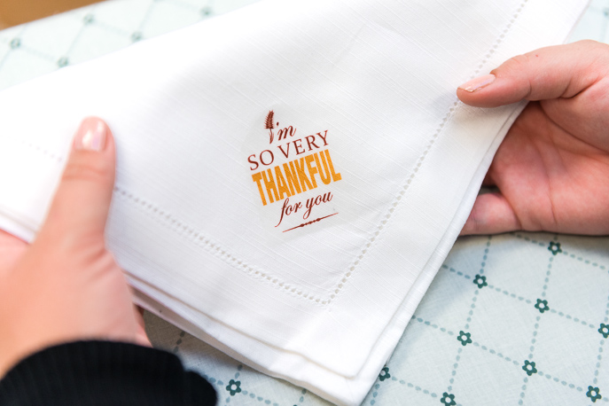 Thanksgiving Napkin Iron-On DIY with Free Printables from Everyday Good Thinking, the official blog of @hamiltonbeach