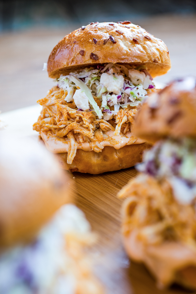 Perfect World Cup party food! Buffalo Chicken Sliders with Blue Cheese Coleslaw - Yum! everydaygoodthinking.com @hamiltonbeach