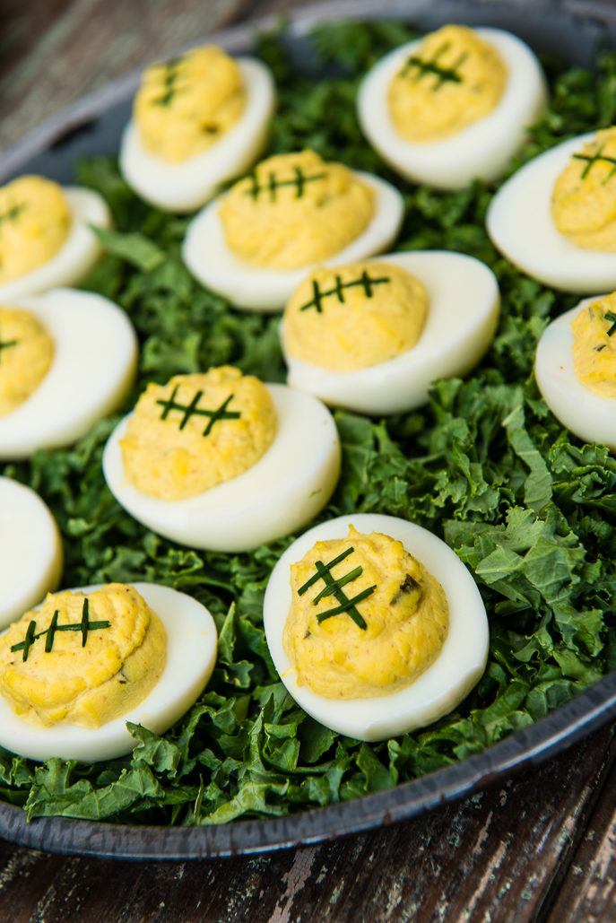 Football Deviled Eggs from Everyday Good Thinking, the official blog of @HamiltonBeach
