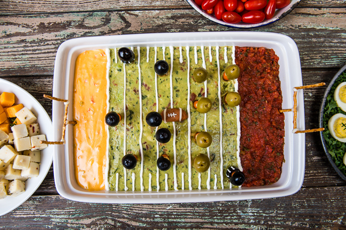 Big Game Football Field Party Dip from Everyday Good Thinking, the official blog of @HamitlonBeach (https://everydaygoodthinking.com)