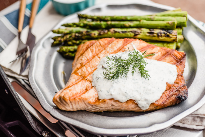 Grilled Salmon with Yogurt Lemon Caper Sauce