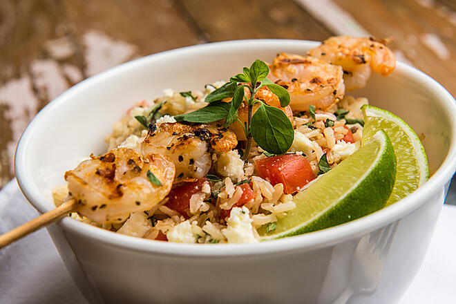Grilled Shrimp with Herbed Feta and Basmati Rice from Everyday Good Thinking, the official blog of @HamiltonBeach