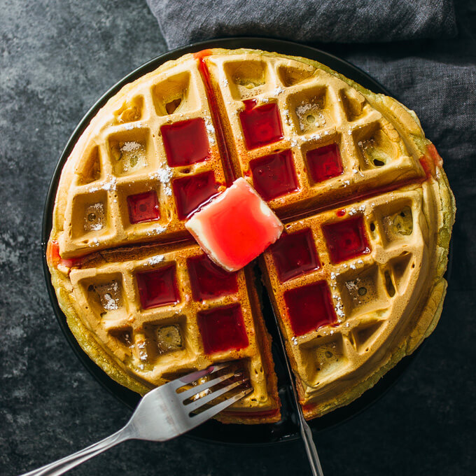 Sykr Waffles with Rhubarb Syrup