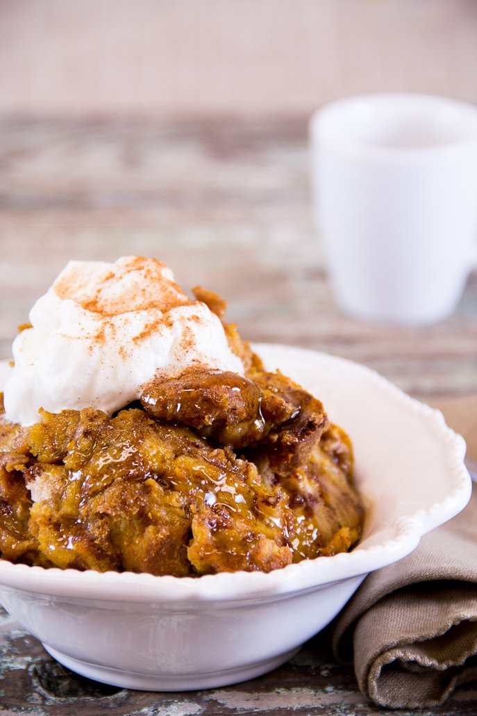 Maple-Glazed Pumpkin Bread Pudding from Everyday Good Thinking, the official blog of @HamiltonBeach