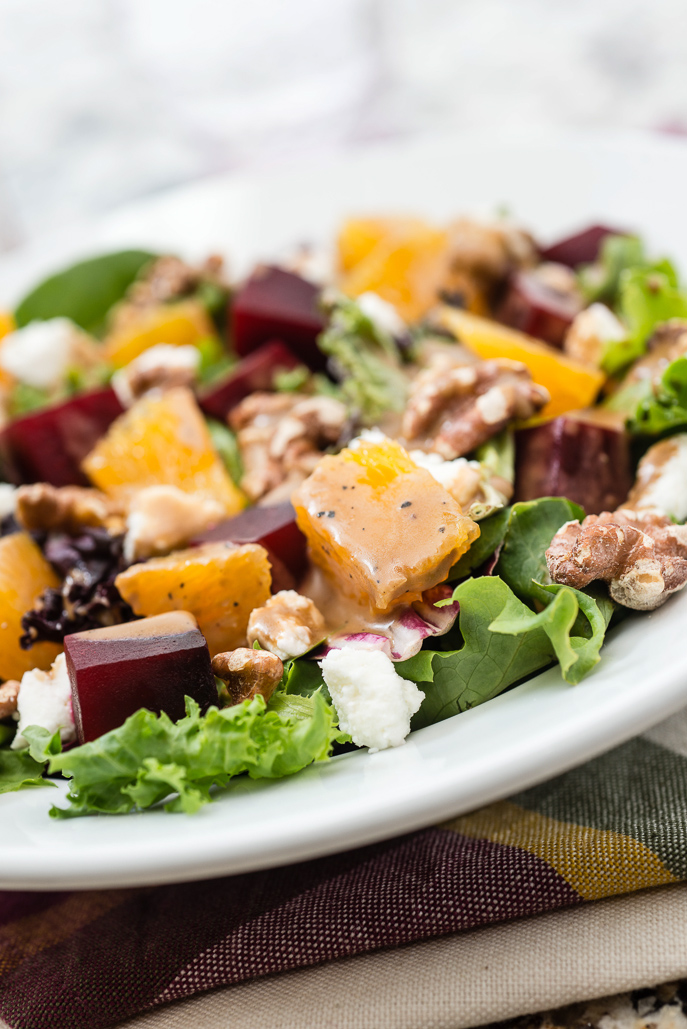 Roasted Beet Salad with Goat Cheese and Balsamic Dressing from Everyday Good Thinking, the official blog of @hamiltonbeach