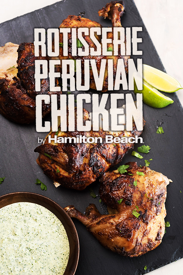 Rotisserie Peruvian Chicken with Green Sauce