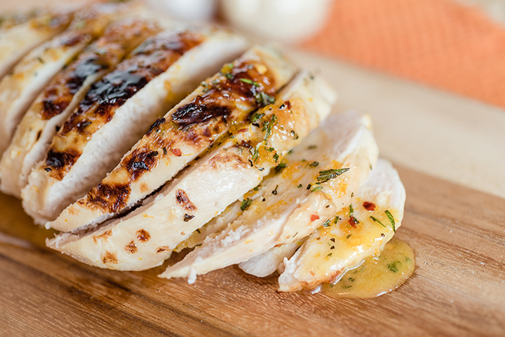 sliced sous vide turkey breast with gravy
