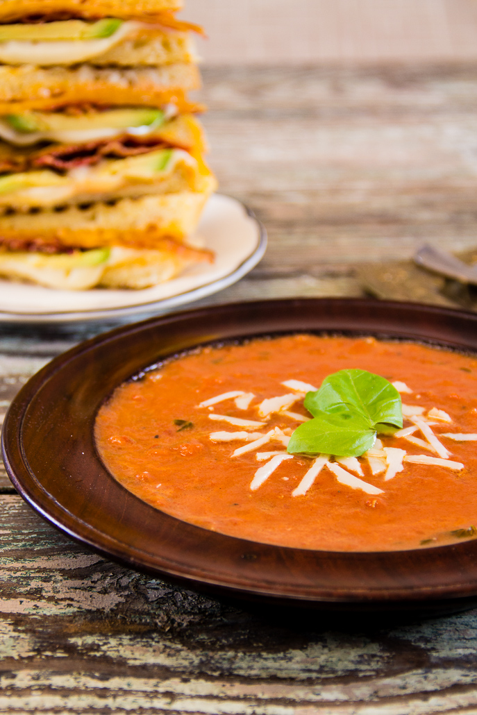 Tomato Basil Soup and Grown-Up Grilled Cheese (with bacon!) from Everyday Good Thinking, the official blog of @HamiltonBeach