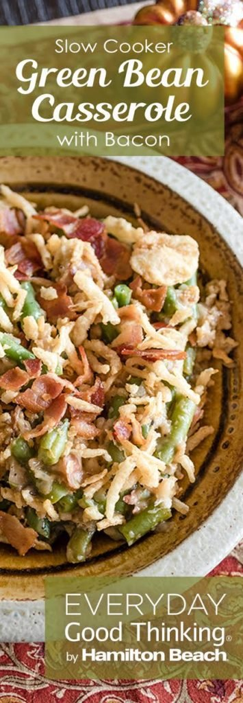 Slow Cooker Green Bean Casserole with Bacon