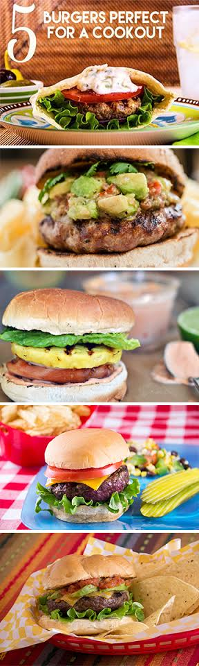 5 Burgers Perfect for a Cookout Pinterest Graphic