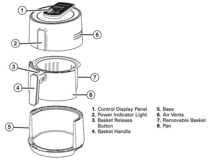 Traditional-style-air-fryer-model-35050-diagram-with-text