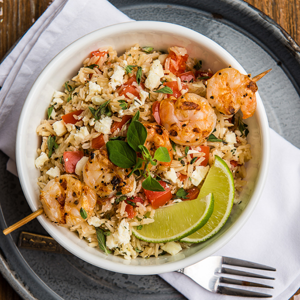 Grilled Shrimp With Herbed Feta Cheese and Brown Basmati Rice
