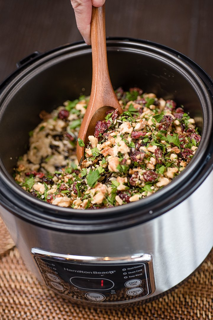 Cranberry and Herb Wild Rice Pilaf | @hamiltonbeach