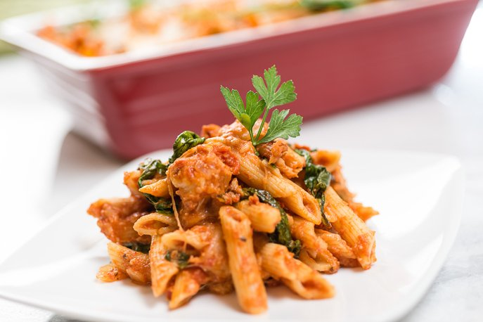 Cheesy Chicken and Spinach Pasta Bake from Everyday Good Thinking, the official blog of @Hamiltonbeach