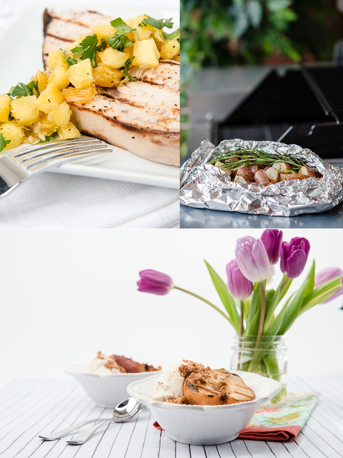Why not make a Mother's Day menu on the grill this year? Grilled Swordfish with Pineapple Salsa, Grilled Potatoes and Grilled Amaretto Pears with Ice Cream! Sounds delicious! EverydayGoodThinking.com @hamiltonbeach